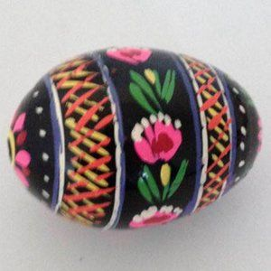 Small Floral Painted Paper Mache Egg